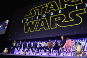 "(L-R) BB-8, Moderator Stephen Colbert, Director J.J. Abrams, Producer Kathleen Kennedy, D-O, Anthony Daniels (C-3PO), Billy Dee Williams (Lando Calrissian), Daisy Ridley (Rey), John Boyega (Finn), Oscar Isaac (Poe Dameron), Kelly Marie Tran (Rose Tico), Joonas Suotamo (Chewbacca), Naomi Ackie (Jannah) and R2-D2 onstage during ""The Rise of Skywalker"" panel at the Star Wars Celebration at McCormick Place Convention Center on April 12, 2019 in Chicago, Illinois."
