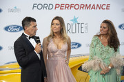 Antonio Banderas, Nicole Kimpel and Sandra Garcia-Sanjuan attend Starlite Gala on August 11, 2019 in Marbella, Spain.