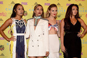 (L-R) Singers Leigh-Anne Pinnock, Perrie Edwards, Jade Thirlwall and Jesy Nelson of Little Mix, winners of the Choice Music: Breakout Artist award, pose in the press room during the Teen Choice Awards 2015 at the USC Galen Center on August 16, 2015 in Los Angeles, California.