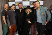 L-R Will Champion, Guy Berryman, Guy Garvey of Elbow, Lady Gaga, Jonny Buckland and Chris Martin of Coldplay pose backstage at Children In Need Rocks Manchester 2011 at The Manchester Evening News Arena on November 17, 2011 in Manchester, United Kingdom.
