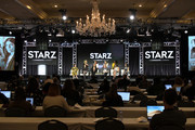 Caitriona Balfe, Maril Davis, La La Anthony, Stephanie Danler, Ella Purnell, Emily Browning, Yetide Badaki, Tanya Sarach, Melissa Barrera and Mishel Prada speak onstage for Starz 'Fiercely Female Panel' during the Starz 2019 Winter TCA Panel & All-Star After Party on February 12, 2019 in Los Angeles, California.