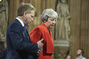 Former PM Theresa May and Grant Schapps attend the State Opening of Parliament at the Palace of Westminster on October 14, 2019 in London, England. The Queen's speech is expected to announce plans to end the free movement of EU citizens to the UK after Brexit, new laws on crime, health and the environment.
