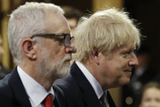 Prime Minister Boris Johnson (L) and Labour Party leader Jeremy Corbyn arrive for the state opening of parliament at the Houses of Parliament on December 19, 2019 in London, England. In the second Queen's speech in two months, Queen Elizabeth II will unveil the majority Conservative government's legislative programme to Members of Parliament and Peers in The House of Lords.