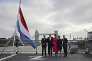 King Willem-Alexander of the Netherlands (2nd,L) and Queen Maxima of the Netherlands (C) accompanied by Prince Edward, Duke of Kent (L) and Sophie countess of Wessex (2nd,R) and Prince Edward, Earl of Wessex (R) attend the Dutch ship HNLMS Zeeland, anchored on the Thames next to HMS Belfast, to watch an on-water capability demonstration by Royal Marines and HNLMS Zeeland?s Marines company during day two of their state visit to the UK on October 24, 2018 in London, United Kingdom. King Willem-Alexander of the Netherlands accompanied by Queen Maxima are staying at Buckingham Palace during their two day stay in the UK. The last State Visit from the Netherlands was by Queen Beatrix and Prince Claus in 1982.