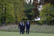 British Prime Minister David Cameron welcomes Chinese President Xi Jinping and an interpreter to his official residence at Chequers on October 22, 2015 in Aylesbury, England. The President of the Peoples Republic of China, Mr Xi Jinping and his wife, Madame Peng Liyuan, end a State Visit to the United Kingdom as guests of The Queen.  They stayed at Buckingham Palace and undertook engagements in London and Manchester. The last state visit paid by a Chinese President to the UK was Hu Jintao in 2005.