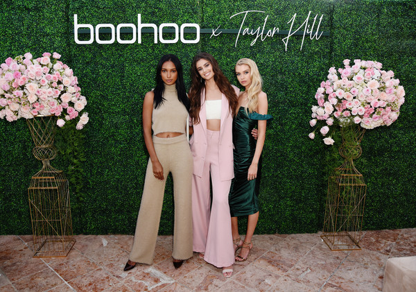 boohoo x Taylor Hill Tea Party [pink,dress,bridesmaid,spring,gown,bride,flower,event,ceremony,plant,jasmine tookes,stella maxwell,boohoo,l-r,beverly hills,california,the beverly hills hotel,taylor hill tea party]