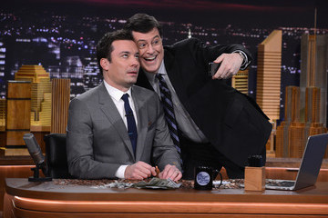 "Stephen Colbert Jimmy Fallon ""The Tonight Show Starring Jimmy Fallon"" Debut Episode"