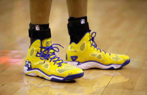 Stephen Curry A close-up of the shoes worn by Stephen Curry #30 of the