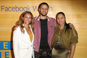 Sonya Curry, Stephen Curry, and Ayesha Curry pose for a photo on the red carpet at 16th Street Station on April 1, 2019 in Oakland, California.