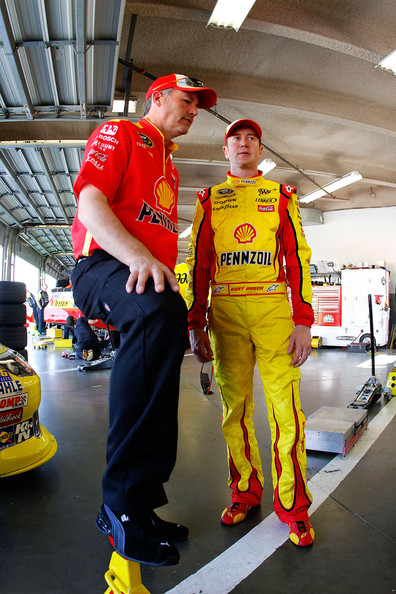 Steve Addington Kurt Busch, driver of the #22 Shell Pennzoil Dodge, talks to crew chief Steve Addington in the garage area during practice for the NASCAR Sprint Cup Series Daytona 500 at Daytona International Speedway on February 19, 2011 in Daytona Beach, Florida.
