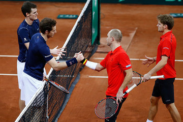 Steve Darcis David Goffin Belgium v Great Britain: Davis Cup Final 2015 - Day Two