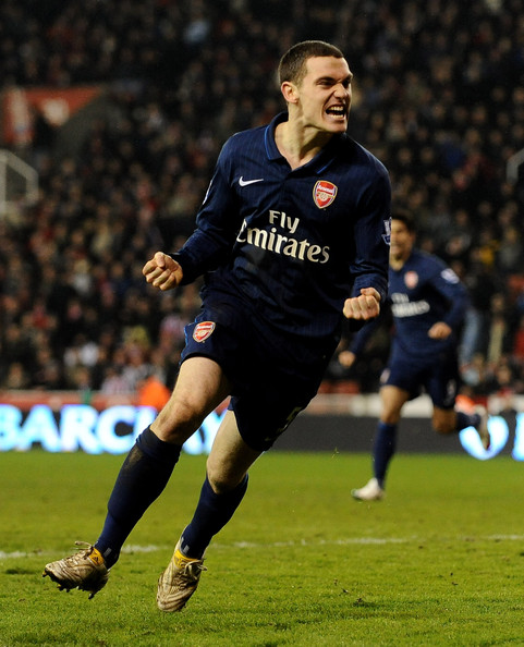 Thomas Vermaelen Thomas Vermaelen of Arsenal celebrates scoring his team's third goal during the Barclays Premier League match between Stoke City and Arsenal at The Britannia Stadium on February 27, 2010 in Stoke on Trent, England.