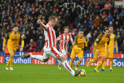 Charlie Adam of Stoke City shoots and misses a penalty during the Premier League match between Stoke City and Brighton and Hove Albion at Bet365 Stadium on February 10, 2018 in Stoke on Trent, England.