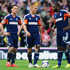 (L-R) Scott Parker, Steve Sidwell and Darren Bent of Fulham react as their side concedes a second goal during the Barclays Premier League match between Stoke City and Fulham at the Britannia Stadium on May 3, 2014 in Stoke on Trent, England.