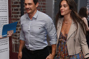 "James Franco and  Isabel Pakzad attend the opening night of ""Straight White Men"" at Hayes Theater on July 23, 2018 in New York City."