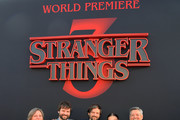"""(L-R) Cindy Holland, Ross Duffer, Matt Duffer, Millie Bobby Brown and Ted Sarandos, Chief Content Officer for Netflix attend the """"Stranger Things"""" Season 3 World Premiere on June 28, 2019 in Santa Monica, California."""