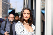 Bailee Madison is seen posing outside of Spring Studios during New York Fashion Week on February 09, 2020 in New York City.