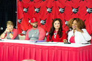 (L-R) Deidre Pujols, Albert Pujols, Susan Kang Schroeder and Survivor Advocate Stacy Jewell attend the Strike Out Slavery Press Conference at Angel Stadium on August 9, 2018 in Anaheim, California.