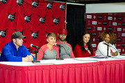 (L-R) Singer-songwriter Nick Jonas, Deidre Pujols, Albert Pujols, Susan Kang Schroeder and Survivor Advocate Stacy Jewell attend the Strike Out Slavery Press Conference at Angel Stadium on August 9, 2018 in Anaheim, California.