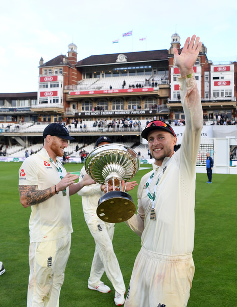 England v India: Specsavers 5th Test - Day Five [test cricket,cricket,games,team sport,championship,sports,bat-and-ball games,competition event,cricketer,ball game,ben stokes,stuart broad,joe root,india,the kia oval,london,england,specsavers 5th test,test match]