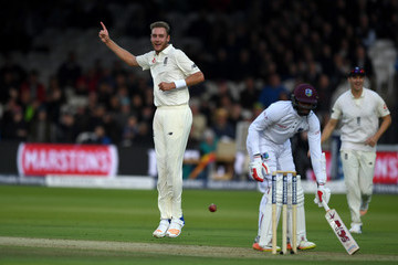 Stuart Broad England v West Indies - 3rd Investec Test: Day Two