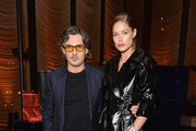Stuart Weitzman Creative Director Giovanni Morelli (L) and Doutzen Kroes attend the Stuart Weitzman FW18 Presentation and Cocktail Party at The Pool on February 8, 2018 in New York City.