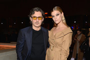 Stuart Weitzman Creative Director Giovanni Morelli (L) and Nina Agdal attend the Stuart Weitzman FW18 Presentation and Cocktail Party at The Pool on February 8, 2018 in New York City.
