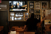 A TV inside Yorkside Pizza Restaurant shows the U.S. Senate Judiciary Committee hearings for testimony from Supreme Court nominee Brett Kavanaugh and Dr. Christine Blasey Ford, on Yale University's campus on September 27, 2018 in New Haven, Connecticut. Ford, a professor at Palo Alto University and a research psychologist at the Stanford University School of Medicine, has accused Kavanaugh of sexually assaulting her during a party in 1982 when they were high school students in suburban Maryland.