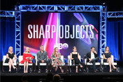 .Producer/showrunner Marti Noxon, Patricia Clarkson, producer Jean-Marc Vallee, actor/producer Amy Adams, Eliza Scanlen, Chris Messina and writer/producer Gillian Flynn of Sharp Objects' speak onstage during the HBO portion of the Summer 2018 TCA Press Tour at The Beverly Hilton Hotelon July 25, 2018 in Beverly Hills, California.