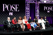 (L-R) Co-creator/executive producer/writer/director Ryan Murphy, Co-creator/executive producer/writer Steven Canals, Producer/writer/director Janet Mock, Producer/writer Our Lady J, Actors Mj Rodriguez, Dominique Jackson, Indya Moore, and Billy Porter speak onstage at the 'Pose' panel during the FX Network portion of the Summer 2018 TCA Press Tour at The Beverly Hilton Hotel on August 3, 2018 in Beverly Hills, California.