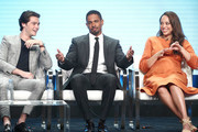 "(L-R)  Actor Felix Mallard, actor Damon Wayans, Jr. and actress Amber Stevens West of the television show ""Happy Together"" speak during the CBS segment of the Summer 2018 Summer Television Critics Association Press Tour at Beverly Hilton Hotel on August 5, 2018 in Beverly Hills, California."