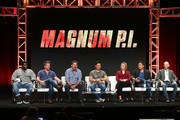 """Actor Stephen Hill, Zachary Knighton, executive producer Peter M. Lenkov,  actor Jay Hernandez, actress Perdita Weeks, actor Tim Kang, and executive producer Eric Guggenheim of the television show """"Magnum P.I"""" speak during the CBS segment of the Summer 2018 Summer Television Critics Association Press Tour at Beverly Hilton Hotel on August 5, 2018 in Beverly Hills, California."""