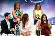 """(Top L-R) Jessica O'Toole and Jennie Snyder Urman (Bottom L-R) Rupert Evans, Sarah Jeffery, and Melonie Diaz from """"Charmed"""" speak onstage at the CW Network portion of the Summer 2018 TCA Press Tour at The Beverly Hilton Hotel on August 6, 2018 in Beverly Hills, California."""