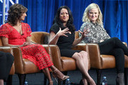 "(L-R) Actress Sarayu Blue, executive producers Aseem Batra and Amy Poehler of the television show ""I Feel Bad"" speak during the NBC segment of the Summer 2018 Television Critics Association Press Tour at the Beverly Hilton Hotel on August 8, 2018 in Beverly Hills, California."