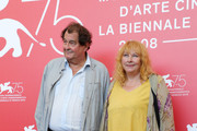 """Bruno Raffaelli and Yolande Moreau attend """"The Summer House (Les Estivants)"""" photocall during the 75th Venice Film Festival at Sala Casino on September 5, 2018 in Venice, Italy."""