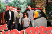 """(L-R) Producer John Cohen, actors Josh Gad, Peter Dinklage, and Jason Sudeikis attend the """"Angry Birds"""" photo call during Summer Of Sony Pictures Entertainment 2015 at The Ritz-Carlton Cancun on June 16, 2015 in Cancun, Mexico. #SummerOfSonyPictures #AngryBirdsMovie"""