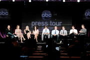 """Actors Ian Gomez, Christa Miller, Busy Philipps, Courteney Cox, director Bill Lawrence, guest, actors Dan Byrd, Josh Hopkins and Brian Van Holt of the television show """"Cougar Town"""" speak during the ABC Network portion of the 2009 Summer Television Critics Association Press Tour at The Langham Huntington Hotel & Spa on August 8, 2009 in Pasadena, California."""
