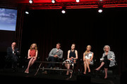 """(L-R) Executive Producer 'Downton Abbey' Gereth Neame, actors Laura Carmichael, Allen Leech, Michelle Dockery, Joanne Froggatt, and MASTERPIECE Executive Producer Rebecca Eaton speak onstage during the MASTERPIECE """"Downton Abbey, Season 5"""" panel at the PBS Networks portion of the 2014 Summer Television Critics Association at The Beverly Hilton Hotel on July 22, 2014 in Beverly Hills, California."""