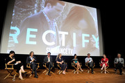 (L-R)  Ray McKinnon, Creator/Writer/Executive Producer of ÒRectifyÓ, ActorsÊAden Young, Adelaide Clemens, Abigail Spencer, Clayne Crawford, Executive Producers of ÒRectifyÓ Melissa BernsteinÊand Mark Johnson attend SundanceTV's presentation of Panel Discussions featuring creators and stars of 'Rectify' and 'The Honorable Woman' on May 16, 2015 in Los Angeles, California.