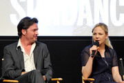 (L-R) ActorsÊAden Young and Adelaide Clemens speak at SundanceTV's presentation of Panel Discussions featuring creators and stars of 'Rectify' and 'The Honorable Woman' on May 16, 2015 in Los Angeles, California.