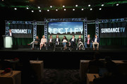 (L-R) President & General Manager, AMC Networks, Charlie Collier, Actors Clayne Crawford, Adelaide Clemens, Aden Young, Creator/executive producer/writer/director Ray McKinnon, actors Abigail Spencer, Luke Kirby, J. Smith-Cameron, Bruce McKinnon and Jake Austin Walker speak onstage during the 'Rectify' panel discussion at the SundanceTV portion of the 2016 Television Critics Association Summer Tour at The Beverly Hilton Hotel on July 31, 2016 in Beverly Hills, California.