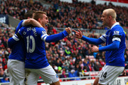 Seamus Coleman, Gerard Deulofeu and Steven Naismith of Everton celebrate after Wes Brown of Sunderland scores an own goal during the Barclays Premier League match between Sunderland and Everton at Stadium of Light on April 12, 2014 in Sunderland, England.