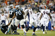Derek Wolfe #95 of the Denver Broncos reacts after a sack in the third quarter against  Cam Newton #1 of the Carolina Panthers during Super Bowl 50 at Levi's Stadium on February 7, 2016 in Santa Clara, California.