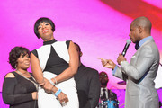 (L-R) American Idol winner and Grammy-nominated artist Fantasia and host Kirk Franklin speak onstage at the Super Bowl Gospel 2013 Show at UNO Lakefront Arena on February 1, 2013 in New Orleans, Louisiana.