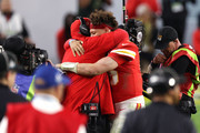 Patrick Mahomes #15 of the Kansas City Chiefs celebrates with head coach Andy Reid after defeating the San Francisco 49ers in Super Bowl LIV at Hard Rock Stadium on February 02, 2020 in Miami, Florida.