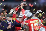 Head coach Andy Reid of the Kansas City Chiefs celebrates with the Vince Lombardi Trophy after defeating the San Francisco 49ers 31-20 in Super Bowl LIV at Hard Rock Stadium on February 02, 2020 in Miami, Florida.