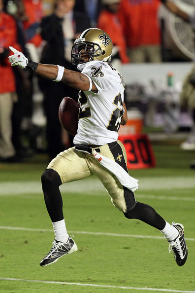 Tracy Porter #22 of the New Orleans Saints intercepts Peyton Manning #18 of the Indianapolis Colts for a touchdown in the fourth quarter during Super Bowl XLIV on February 7, 2010 at Sun Life Stadium in Miami Gardens, Florida.