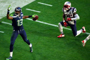 Chris Matthews #13 of the Seattle Seahawks reacts after a catch in the second quarter against Kyle Arrington #25 of the New England Patriots during Super Bowl XLIX at University of Phoenix Stadium on February 1, 2015 in Glendale, Arizona.