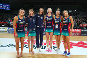 Renae Ingles, Emily Mannix, Kate Moloney, Tegan Philip, Liz Watson and Jo Weston of the Vixens pose after being named in the Australian Diamonds netball squad during the round 11 Super Netball match between the Vixens and the Thunderbirds at Hisense Arena on July 15, 2018 in Melbourne, Australia.