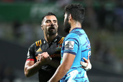 Akira Ioane of the Blues and Liam Messam of the Chiefs embrace after the round eight Super Rugby match between the Chiefs and the Blues at Waikato Stadium on April 7, 2018 in Hamilton, New Zealand.